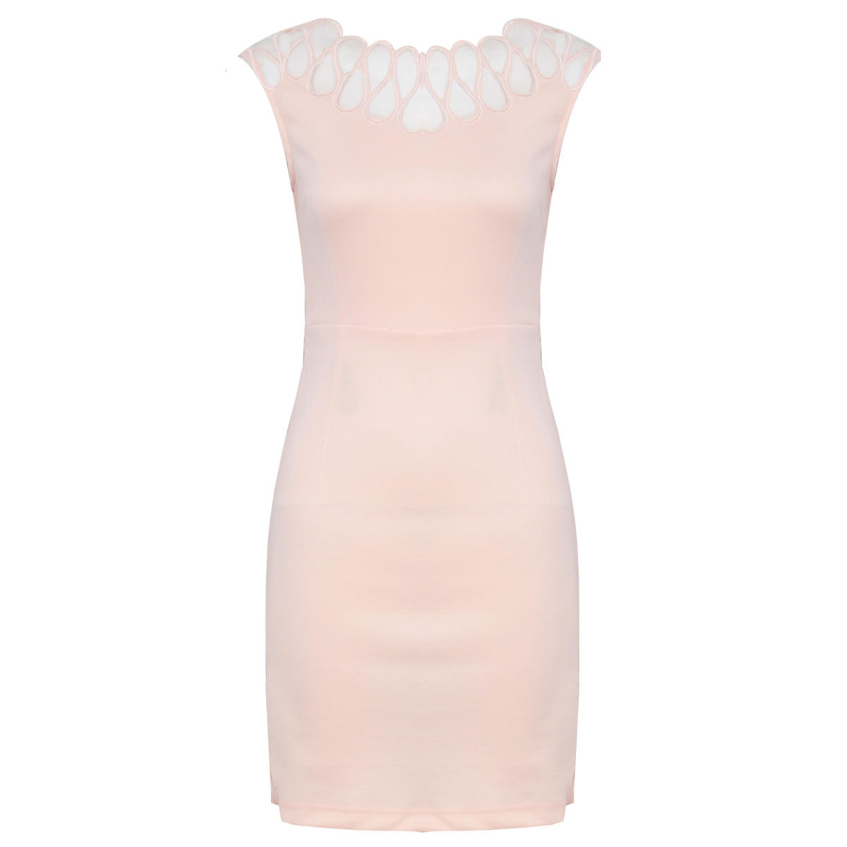 SIZE 8 ONLY Nude Mesh Detail Bodycon Dress Preview